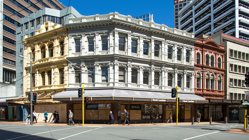 Image of Stewart Dawsons Corner, Wellington, New Zealand taken on 6 November 2017 as part of an archival record before renovation work is undertaken by McKee-Fehl on behalf of the owners, Argosy Group.  Copyright: John Mathews 2017   www.megasportmedia.co.nz