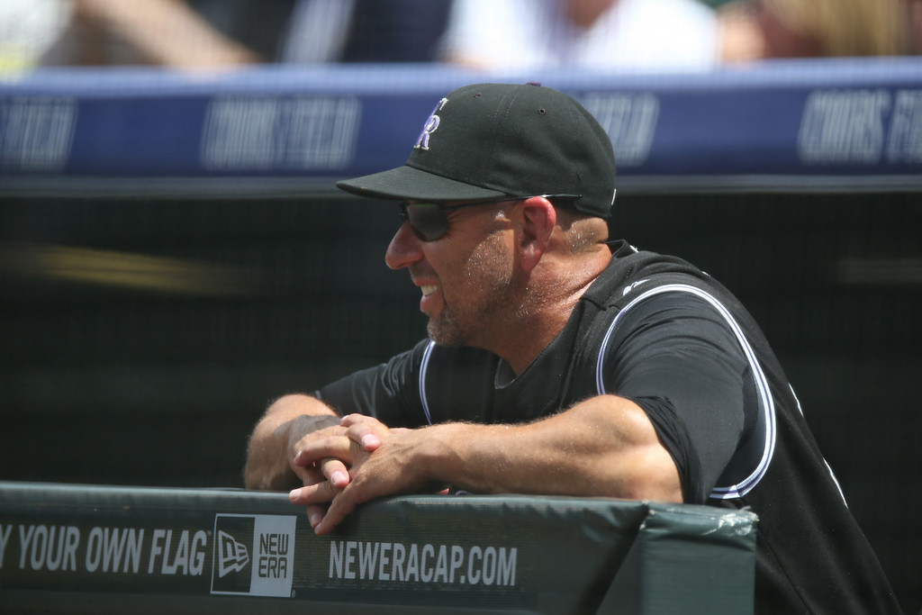 . Colorado Rockies manager Walt Weiss looks on  in the first inning of a baseball game against the Chicago Cubs in Denver on Thursday, Aug. 7, 2014. (AP Photo/David Zalubowski)