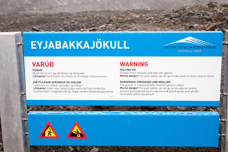 EyjabakkaJokull Glacier warning sign