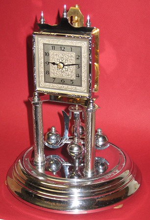 Herr 400 Day Clock with Square Dial and Nickel finish