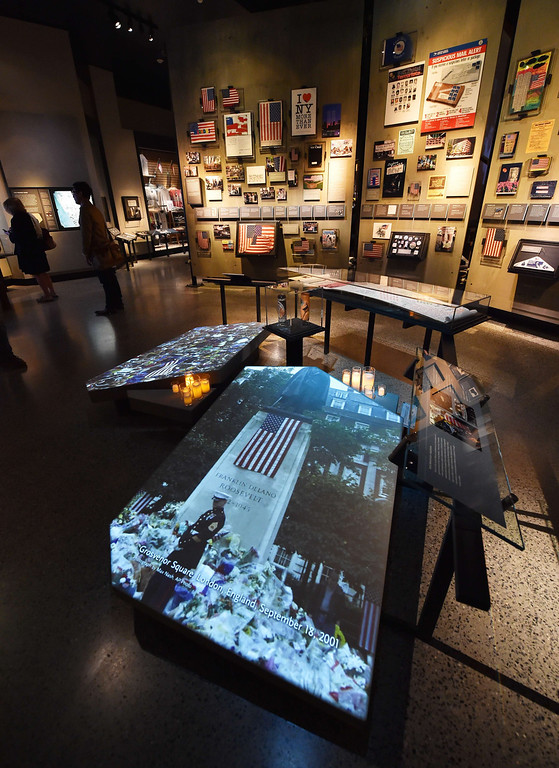 . An exhibit of memorials seen during a press preview of the National September 11 Memorial Museum at the World Trade Center site May 14, 2014 in New York. AFP PHOTO/Stan HONDA/AFP/Getty Images