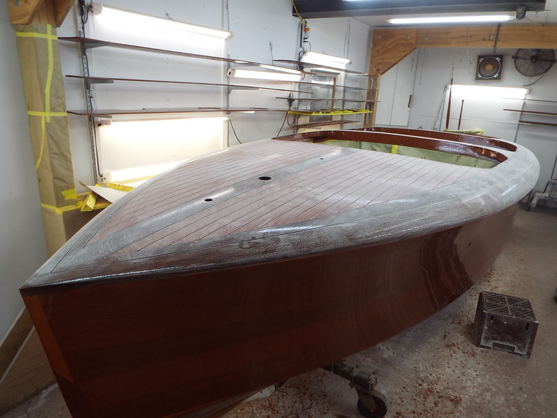 After the first five coats drying for a week the boat is now sanded ready for five more.