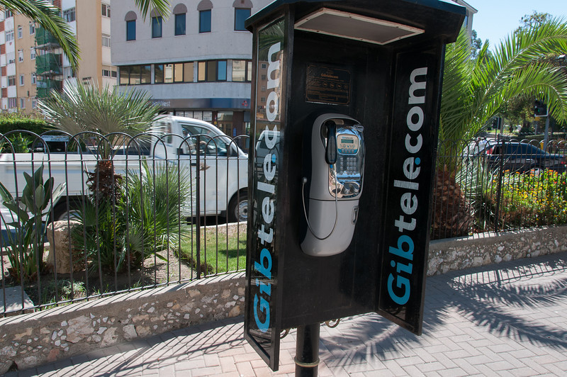 Telephone booth at Winston Churchill Avenue in Gibraltar