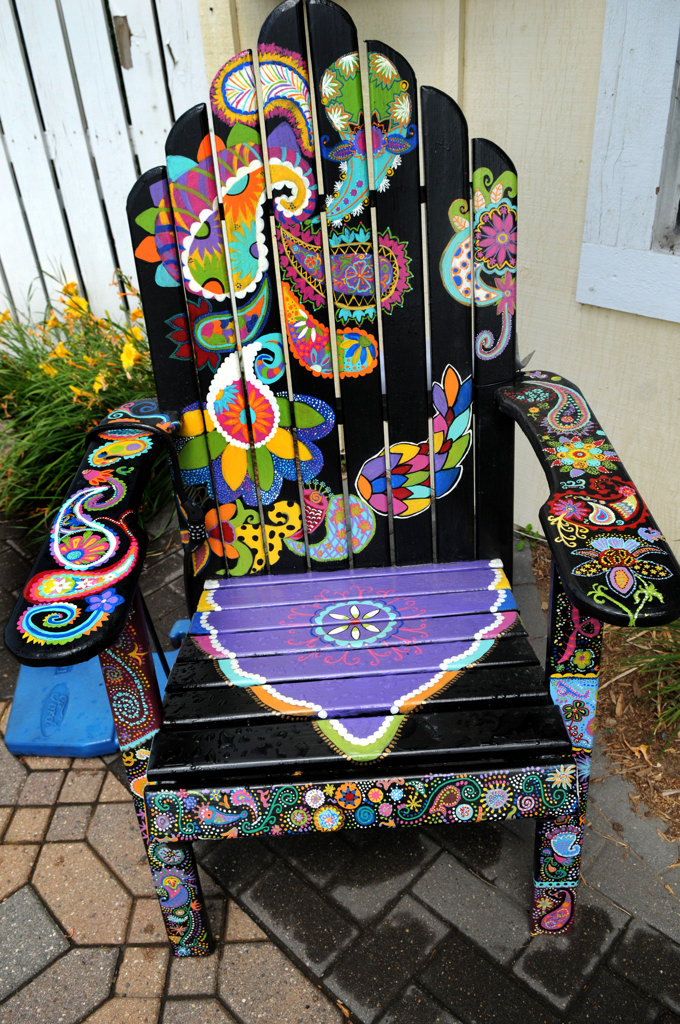 ". A chair titled ""Playful Paisley\"" by Ashley Hadfield  sits in front of Eichten\'s Market & Bistro in Center City. (Pioneer Press: Jean Pieri)"