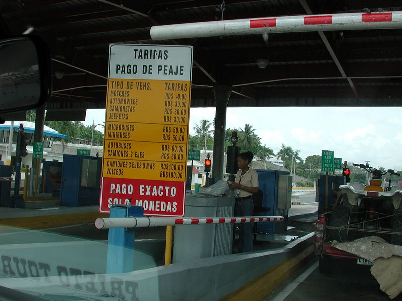 Here we pay a toll to get onto the highway