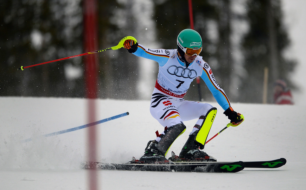 . BEAVER CREEK, CO - FEBRUARY 15: Felix Neureuther of Germany competes in the first run of the Men\'s slalom during the FIS  Alpine World Ski Championships in Beaver Creek, CO. February 15, 2015. (Photo By Helen H. Richardson/The Denver Post)