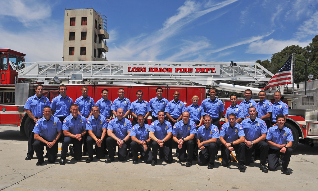 . LONG BEACH - 08/02/2013  (Photo: Scott Varley, Los Angeles News Group)  25 new ambulance drivers graduated from the Long Beach Fire Department\'s two week training academy and received their LBFD badges during a short ceremony.