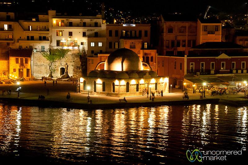 Venetian Harbor at Night - Chania, Crete