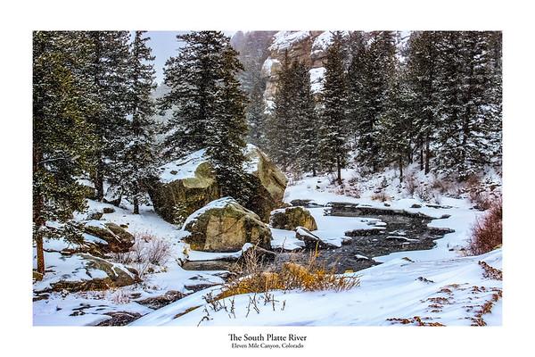Snow on the South Platte River Colorado