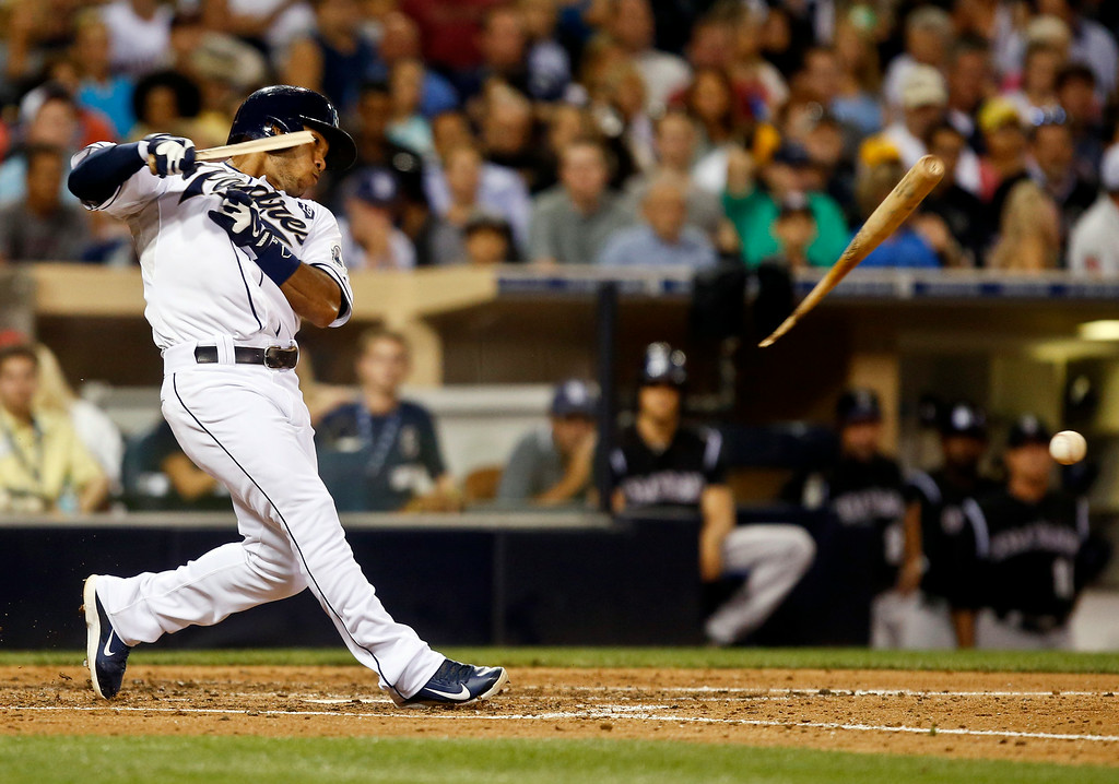 . San Diego Padres\' Alexi Amarista sends the ball and bat out toward Colorado Rockies pitcher Yohan Flande while grounding out to end the fourth inning of a baseball game Tuesday, Aug. 12, 2014, in San Diego. (AP Photo/Lenny Ignelzi)