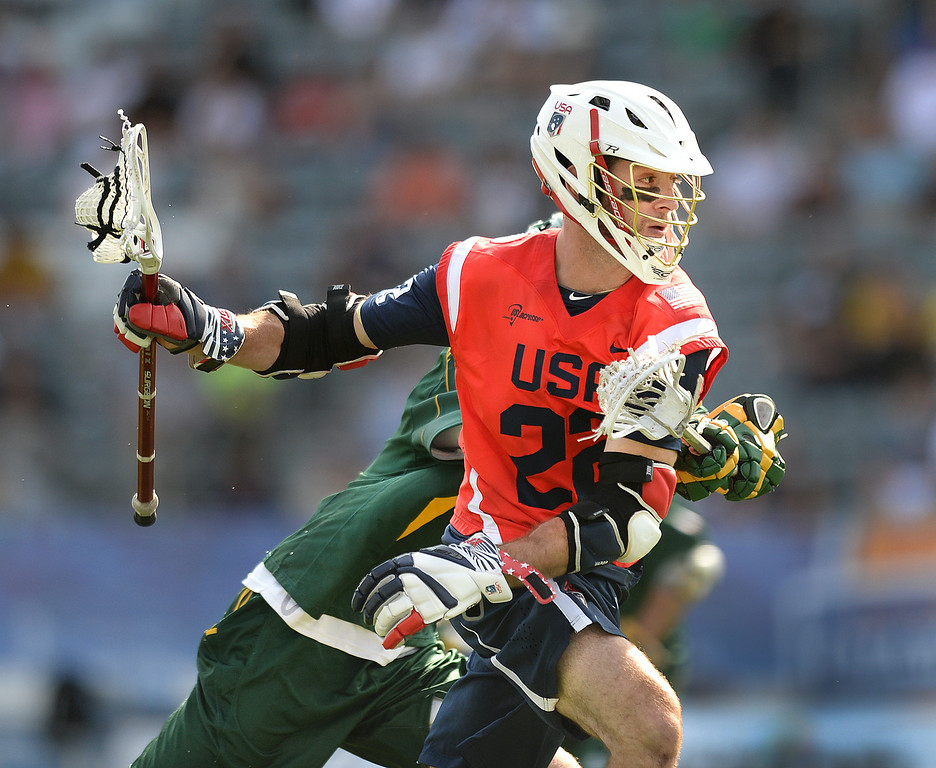 . COMMERCE CITY, CO - JULY 17: US attack Ned Crotty (22) drove to the net in the first half. Team USA faced Australia in a FIL World Championship semifinal game Thursday night, July 17, 2014.  Photo by Karl Gehring/The Denver Post