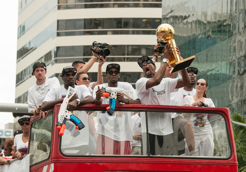 Chris Bosh will not let go of the trophy