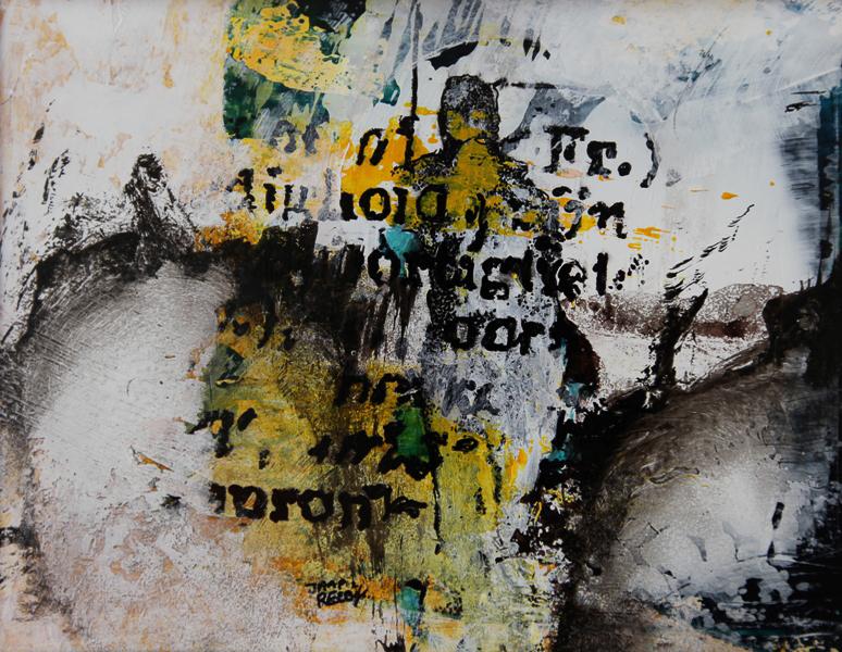 """EIGENAARDIG  4"""" , acryl op papier, €200,00, 18x14, Kunstuitleen €12,50 per maand,"""