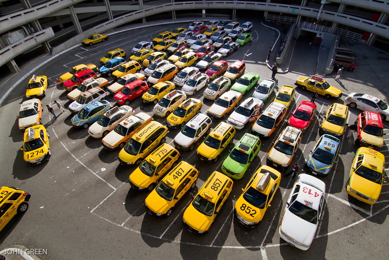 TAXI DRIVERS WAIT IN LINE AT SFO