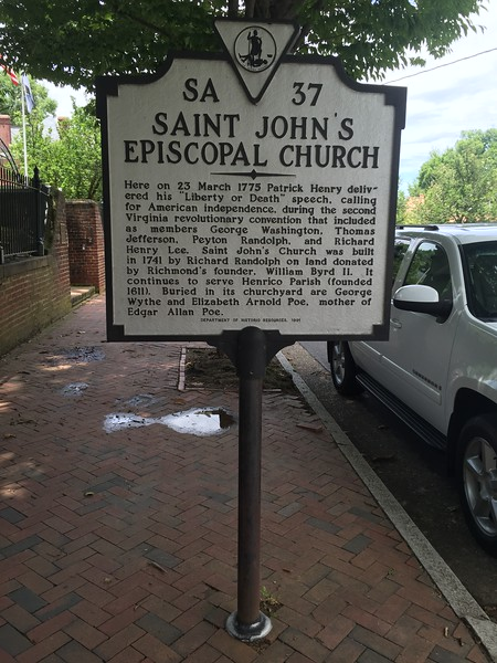 "St. John's Church. Built in 1741. Where Patrick Henry said ""Give me liberty or give me death."""