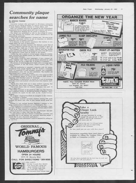 Daily Trojan, Vol. 91, No. 7, January 20, 1982