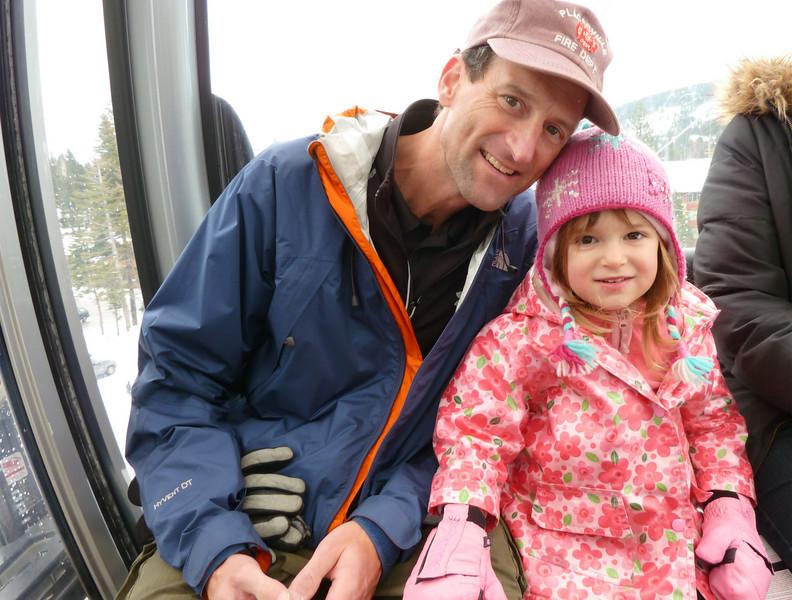 Charlie, Hazel, in gondola at Tahoe