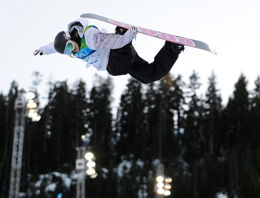 . Mercedes Nicoll of Canada compete during semifinals in the women\'s snowboard halfpipe at the Vancouver 2010 Olympics in Vancouver, British Columbia, Thursday, Feb. 18, 2010. (AP Photo/Mark J. Terrill)