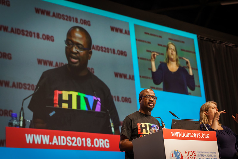 22nd International AIDS Conference (AIDS 2018) Amsterdam, Netherlands.   Copyright: Matthijs Immink/IAS  PLENARY Breaking barriers of inequity in the HIV response  Photo shows: Allan Maleche