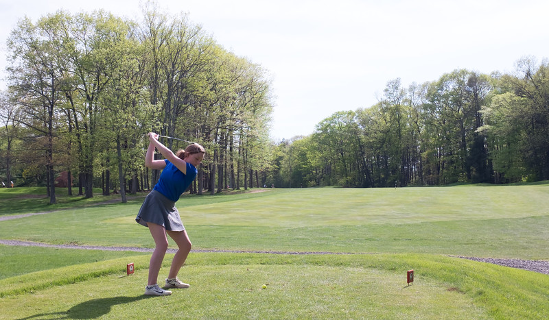 05/09/18  Wesley Bunnell | Staff  Berlin girls golf vs New Britain on Wednesday afternoon at Timberlin Golf Course in Berlin. Berlin's Jackie Cooper on the tee.