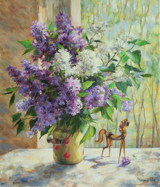 """""""Lilac in a can"""" (oil on canvas) by Tatiana Chepkasova"""