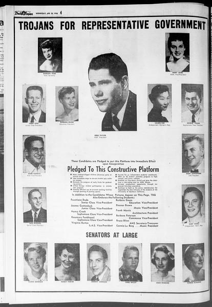 Daily Trojan, Vol. 47, No. 120, April 25, 1956