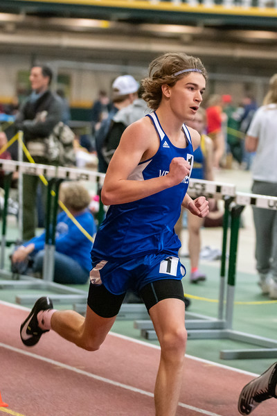 Junior Jarret Muzzy running the 600. Jarret placed 6th with a time of 1:38.35. Vermont Division II Indoor Track State Championships - UVM Gutterson Field House - 2/16/2020
