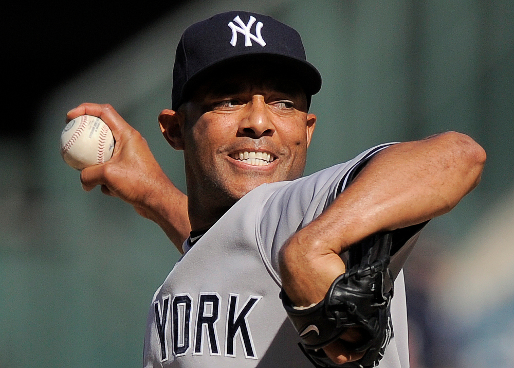 . New York Yankees relief pitcher Mariano Rivera throws to the plate during the ninth inning of their baseball game against the Los Angeles Angels, Sunday, Sept. 11, 2011, in Anaheim, Calif. The Yankees won 6-5.  (AP Photo/Mark J. Terrill)