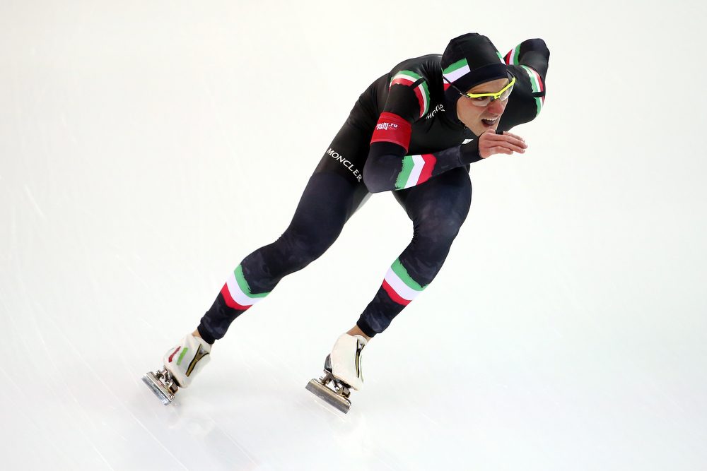 . Mirko Nenzi of Italy competes during the Men\'s 1000m Speed Skating event during day 5 of the Sochi 2014 Winter Olympics at at Adler Arena Skating Center on February 12, 2014 in Sochi, Russia.  (Photo by Streeter Lecka/Getty Images)