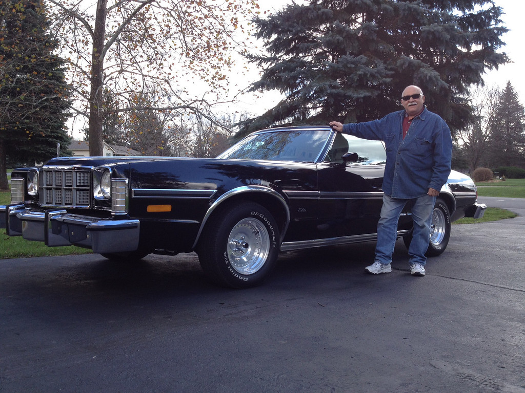 . Name: Nick Palise, of Milford Cutline: This is my 1976 Ford Elite. Most likely, this will be the only one of its kind.  This was the Luxury version of the Ford Torino to compete with the Thunderbird.  They were made for only two years �75 & �76. It is all original (had to put some sporty wheels on it, otherwise it looked like a Grampa car). Now it�s cool! Nick Palise, of Milford