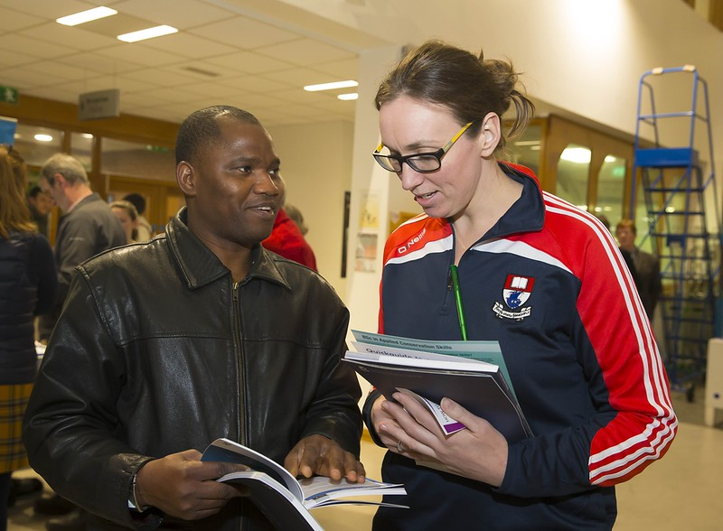 23/02/2016. Free To Use Image. Pictured at WIT (Waterford Institute Of Technology) Adult Learner Information Evening are Joseph Ogundele from Waterford and Michelle Walsh WIT Student Ambassador. Picture: Patrick Browne