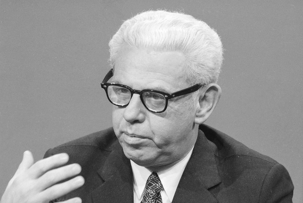 """. Former Supreme Court Justice Arthur J. Goldberg is seen during an interview on NBC\'s """"Meet The Press,"""" March 22, 1970.  (AP Photo/Jack Harris)"""