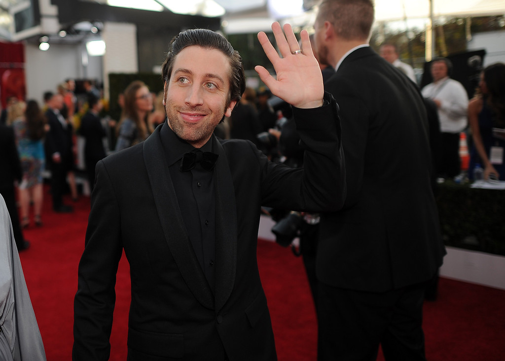 . Simon Helberg on the red carpet at the 20th Annual Screen Actors Guild Awards  at the Shrine Auditorium in Los Angeles, California on Saturday January 18, 2014 (Photo by Hans Gutknecht / Los Angeles Daily News)