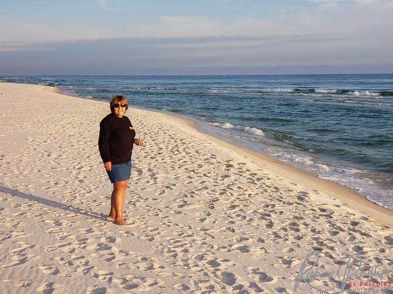 Theresa enjoying the evening at the beach