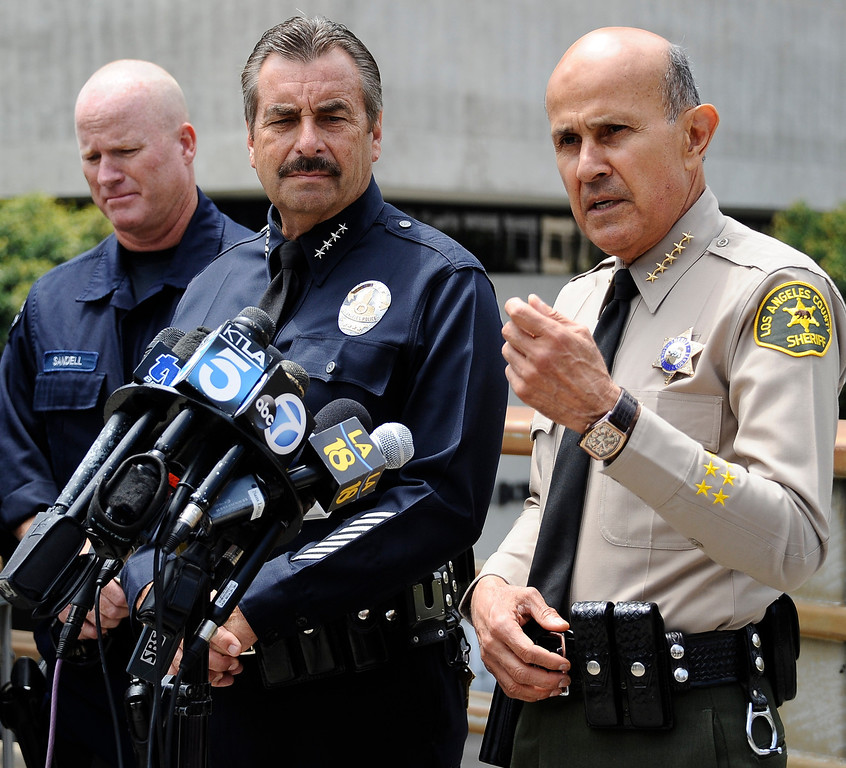 . June 6,2013 Los Angeles CA. Los Angeles county sheriff commander Lee Baca(R.) talks to the media after a live demonstration involving Multi-Assault Counter-Terrorism Action Capabilities (MACTAC) and the deployment of the Stabilization Team Los Angeles in response to a weapon of mass destruction devise.  This demonstration included officer�s deploying from a helicopter and the utilization of blank ammunition. Photo by Gene Blevins/LA Daily News