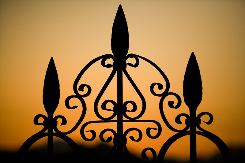 Detail from a iron gate, town of Ronda, province of Malaga, Andalusia, Spain