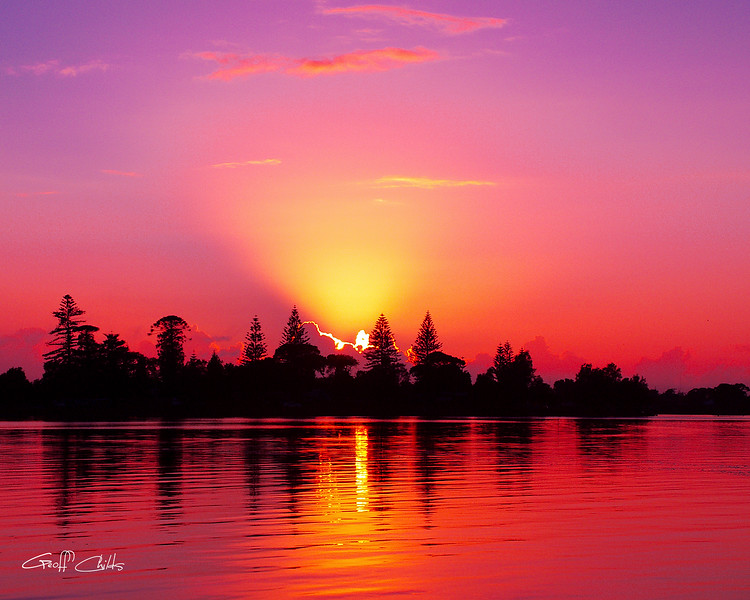 "Magenta Sunrise over Water.  Art photo digital download and wallpaper screensaver. DIY Print.(format 1/1.25) size eg. 8""x10""."