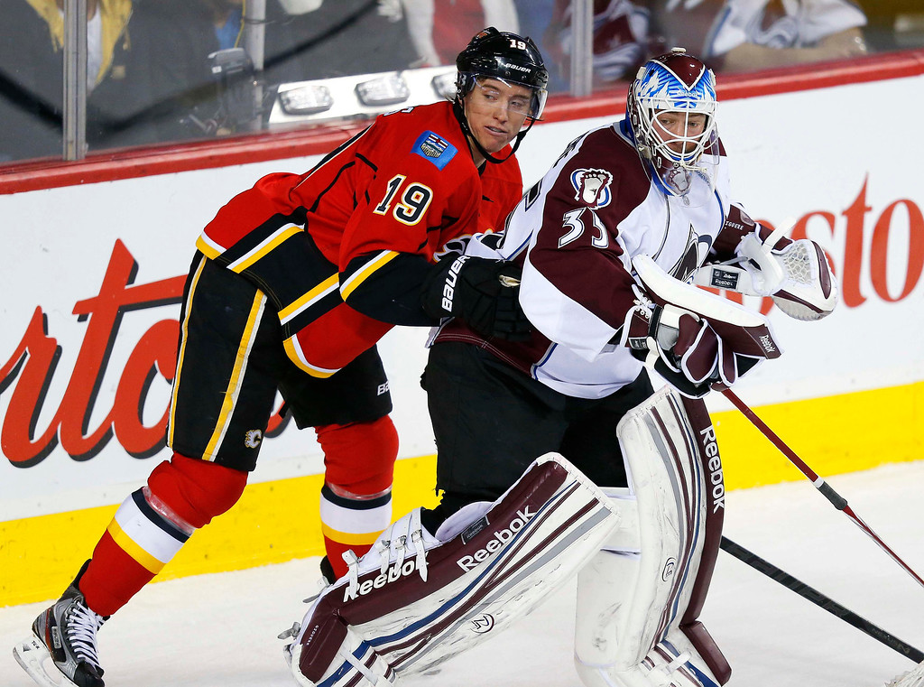 . Calgary Flames\' Blair Jones (L) runs into Colorado Avalanche goalie Jean-Sebastien Giguere during the first period of their NHL hockey game in Calgary, Alberta, January 31, 2013. REUTERS/Todd Korol