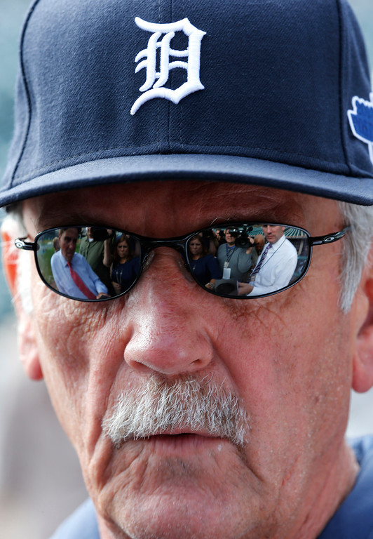 . Detroit Tigers manager Jim Leyland speaks to reporters during baseball practice in Detroit, Tuesday, Oct. 1, 2013. Detroit plays the Oakland Athletics in the American League division series. (AP Photo/Paul Sancya)