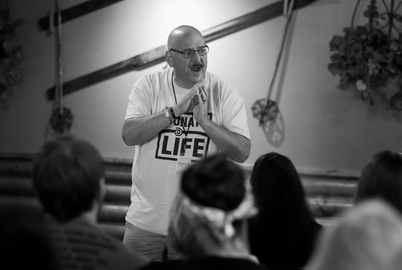Baptist minister Scott Linscott recounts his experience as a liver transplant recipient to an audience on an intimate stage at SoulFest.