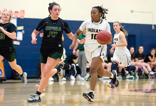 02/20/20 Wesley Bunnell | StaffrrNewington girls basketball defeated Enfield on thursday night at home in the first round of the conference tournament. Ashanti Frazier (10).