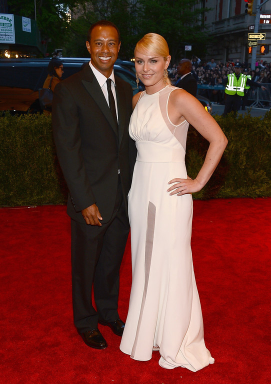 """. Tiger Woods and Lindsay Vonn attend the Costume Institute Gala for the \""""PUNK: Chaos to Couture\"""" exhibition at the Metropolitan Museum of Art on May 6, 2013 in New York City.  (Photo by Larry Busacca/Getty Images)"""
