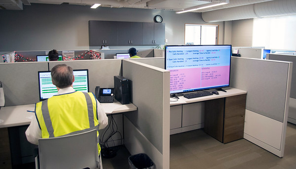 01/15/20 Wesley Bunnell | StaffrrA tour of the Greater Hartford Transit District office in East Hartford along with staff from ADA Paratransit service. The call center staff with a screen showing call details for the day.