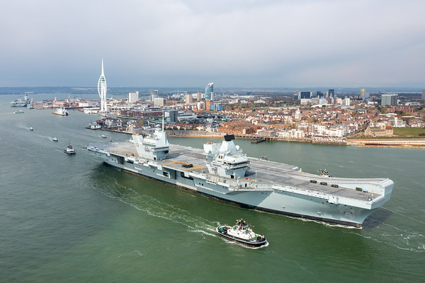 HMS PRINCE OF WALES departing Portsmouth