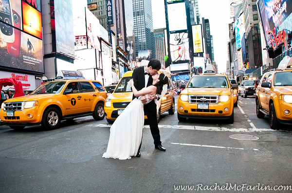 Times Square New York City - Wedding Bride and Groom