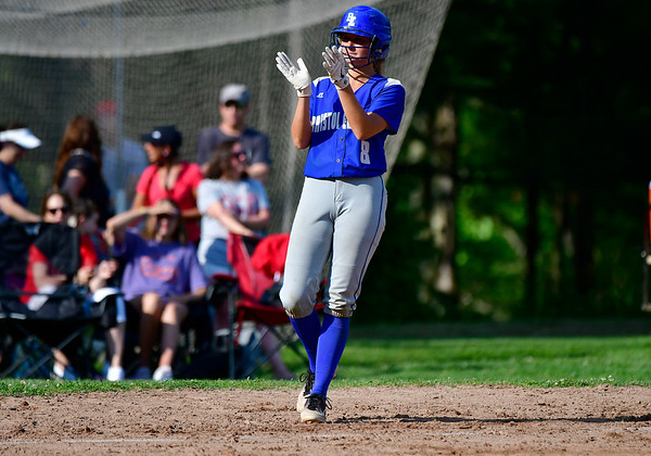 5/31/2019 Mike Orazzi | Staff Bristol Eastern's Zoe Lowe (8) in the Class L Quarterfinals softball game on Friday.