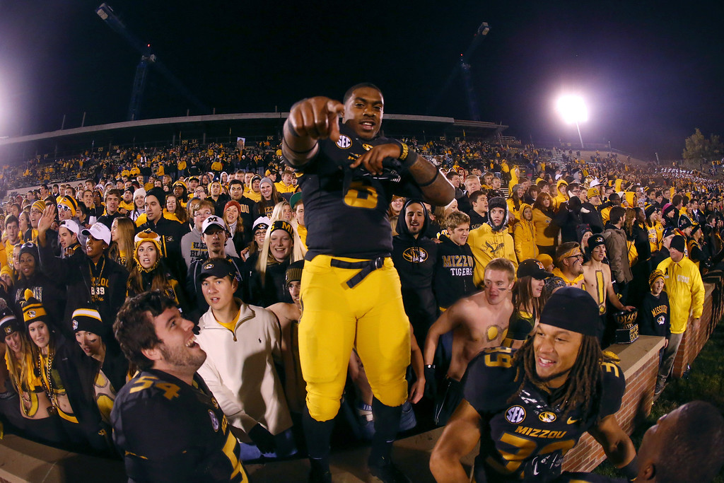 . Luke Jackson #3 of the Missouri Tigers after defeating the Tennessee Volunteers on November 2, 2013 at Faurot Field/Memorial Stadium in Columbia, Missouri. (Photo by Kyle Rivas/Getty Images)