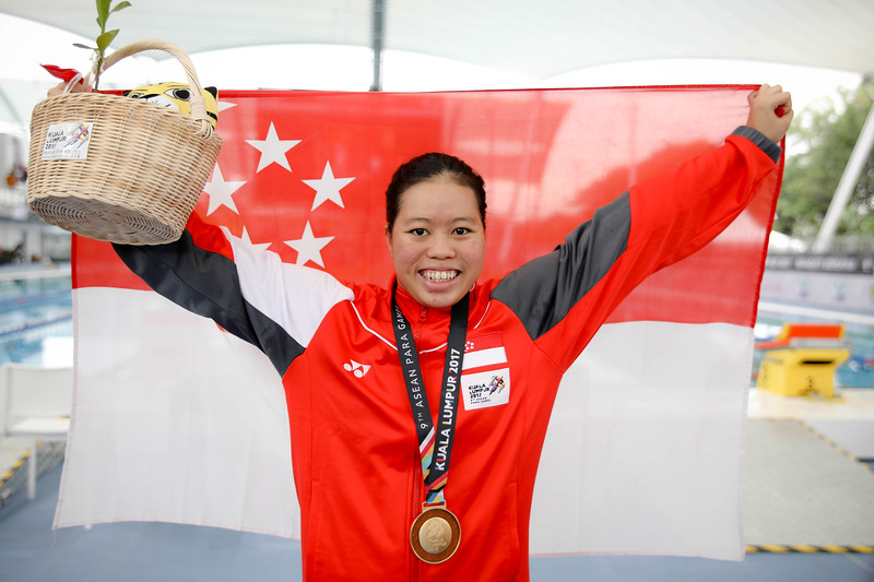 PARA SWIMMING - DANIELLE YAN TING MOI  representing Singapore in Women's 100 LC Meter Freestyle S14 Finals (Gold) at Aquatics Centre, KL on September 19th, 2017 (Photo by Sanketa Anand)