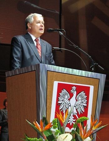 Prezydent RP Lech  Kaczynski w Chicago