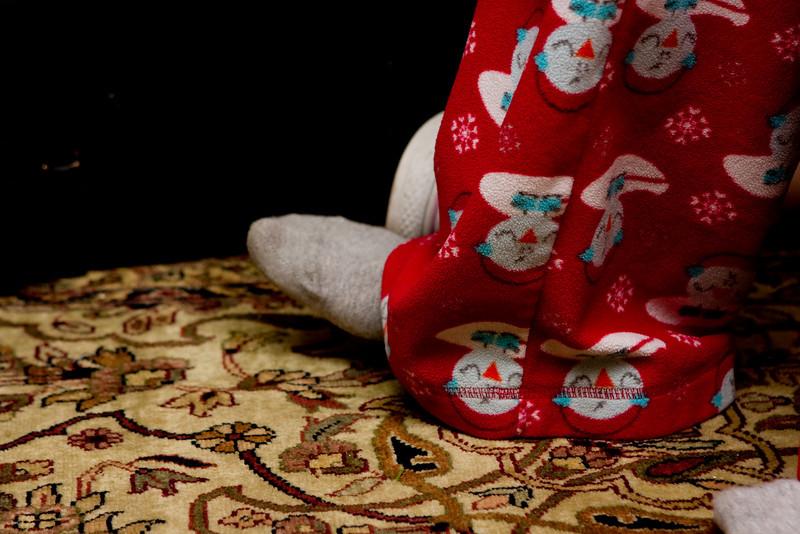 Claudia foot tapping (and amusing pajamas)
